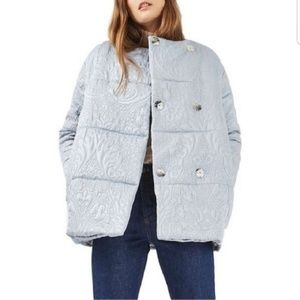 NWT TopShop Jacquard Satin Blue Puffer Jacket